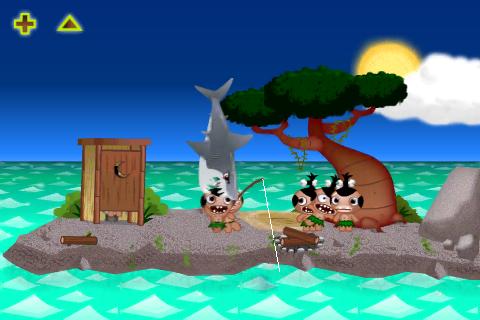 Žralok a rybářský prut v akci.