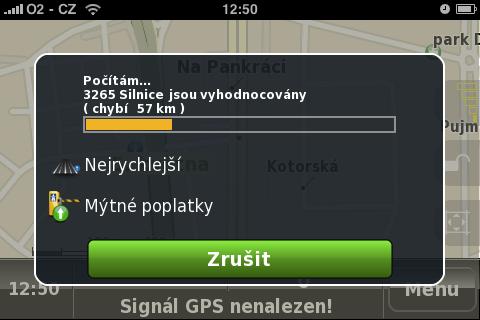 Naviace NDrive - hledání trasy je svižné