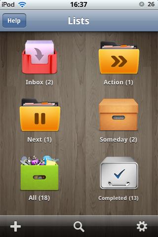eTodo - hlavní obrazovka