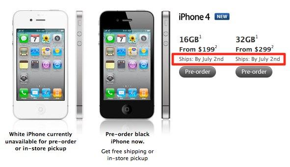 Datum odeslání dalších kusů iPhone 4 je posunuté na 2.7.