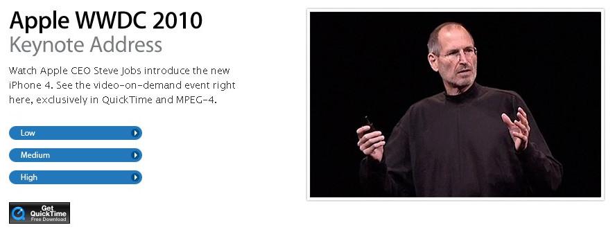 Klikni a pokračuj na stránky Apple