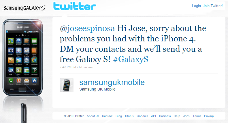 Samsung Galaxy S na Twitteru