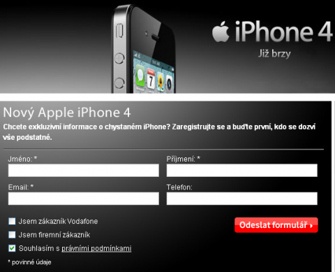 Prodej iPhone 4 u Vodafone