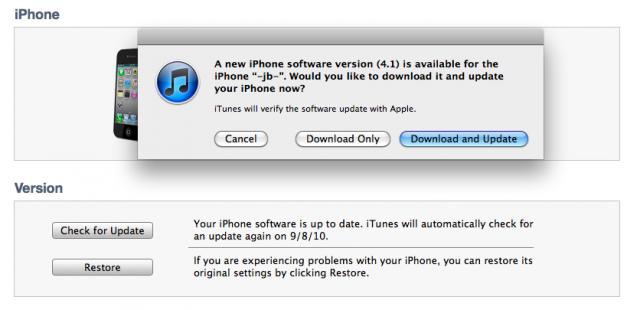 iTunes - iOS 4.1