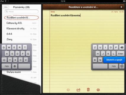 Rozdělení a uvolnění klávesnice
