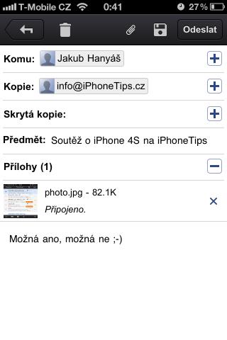 Nová zpráva v aplikaci Gmail