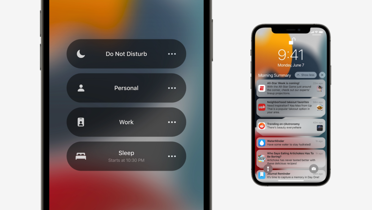 Focus mode v iOS 15