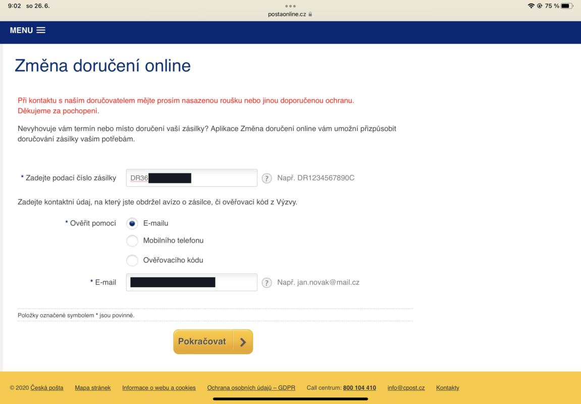 česká pošta sledování zásilky